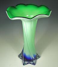 "Graceful Art Nouveau MURANO CASED ART GLASS 9.5"" Trumpet Vase~Jack in the Pulpit"