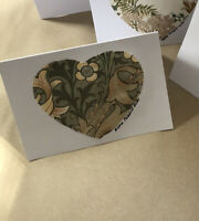 William Morris Fabric Vintage 'Love' Handmade Cards & Envelopes 100% 6 Pack
