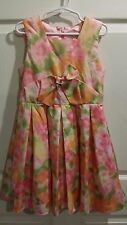 The Childrens Place TCP Girls 6 Summer Dress Pink Green Satin Bow Floral Party