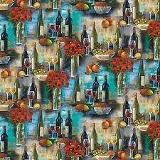 Afternoon Delight Red White Wine Bottles Premium 100% Cotton Fabric by the Yard