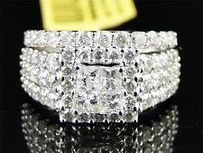 14K Ladies White Gold Princess/Round Diamond XL Engagement Wedding Ring Set 2 Ct