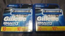 Gillette Mach3 Turbo Razor 2 X 10 Blades= 20 Cartridges Authentic Genuine Sealed