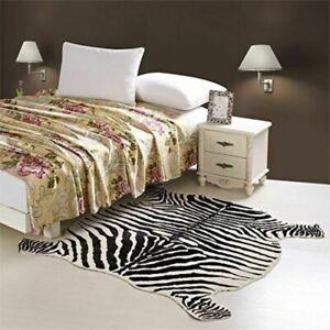 ZEBRA PRINT Animal RUG ANIMAL FAUX HIDE Print Carpet SOFT NON SLIP 150X146cm
