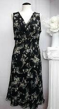 ANN TAYLOR LOFT Black Floral 100% Silk Sleeveless Sheer A Line Dress Size 10