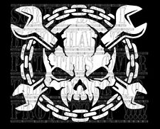 SKULL Cross Chiavi Catene MECCANICO Hot Rod RAT Custom Auto Decalcomania Sticker Vinyl