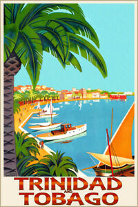 Trinidad and Tobago Tropical Retro Travel Poster Roger Broders Art Print 313