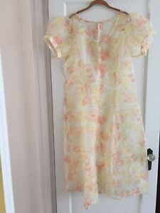 Orange Yellow Green Floral Sheer Puffed Sleeve Dress See Description For Size