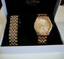 Gold Finish Iced Out Techno Pave Rapper Style Clubbing Watch/Bracelet Combo Set