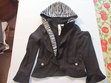 Girl's black/gray jacket with hood sz L (14) by Fresh brewed