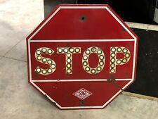 ORIGINAL PORCELAIN Vintage Reflector STOP Sign CALIFORNIA AUTOMOBILE ASSOCIATION