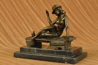 Bronze Sculpture Art Deco Vintage Decor Flapper Dress Woman Classic Fashion Jazz