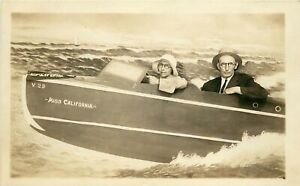 "RPPC Studio Photo Woman Driving Speedboat ""Miss California"" Husband looks Cranky"