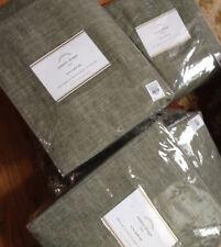 "Pottery Barn Set 2 Emery Drape Sage Grass 50x 108"" Linen Curtain Pole Top Pair"