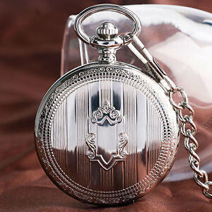 Vintage Shield Stripe Self Winding Wind Up Mechanical Pocket Watch Chain Gift