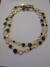 NWT in Box Anne Klein Long Black Crystal Statement Necklace THINK SPRING!