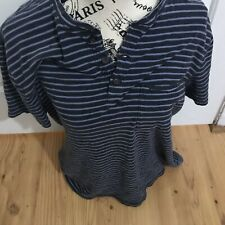 Women's Abercrombie and Fitch size large striped short sleeve cotton blue shirt