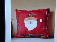 "New Santa Musical Holiday Pillow Plays 3 Songs 12"" Rustic Christmas Winter"