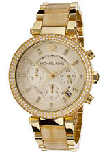 MICHAEL KORS Ladies Watch MK5632 Chronograph Goldtone Stainless Retail $295