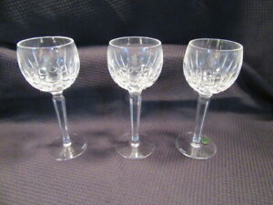 "Set 3 Waterford Kildare Cut Glass Crystal 7-3/8"" Wine Hock Glasses Plain Base"