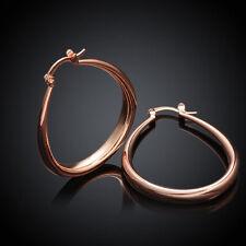 """Women's Fashion Jewelry 18K Rose Gold Plated 1 1/2"""" Solid """"U"""" Oval Hoop Earrings"""
