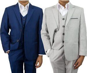 Kids Childrens Boys Cavani Blue Navy Light Grey Wedding Formal 3 Piece Suit 1-15