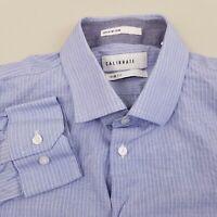CALIBRATE Men's Dress Shirt Long Sleeve 16.5 34/35 Trim Fit Striped Blue