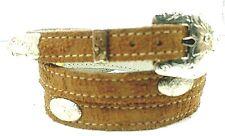 NEW TAN HATBAND #2 Leather PRINT w/ Silver Conchos & Buckle Set Cowboy Hat Band