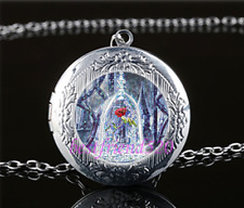 Beauty and the Beast Rose Cabochon Tibet Silver Chain Locket Pendant Necklace