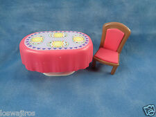 Doll House Miniature or Polly Pocket Pink Table & Chair