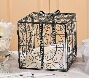 Black Metal Gift Box w/ Bow Card Holder Wedding Wishing Well Reception Money Box