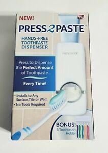 Press 2 Paste Hands-Free Toothpaste Dispenser & Bonus 5 Toothbrush Holder White