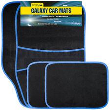 4 Piece Universal Fit Carpet Blue Trim Front & Rear Car Mats Non Slip Grip Floor