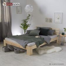 Lit double en bois massif 160x200cm naturel pin lit futon à lattes cadre de lit