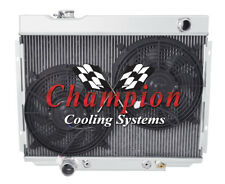 """4 Row Ace Champion Radiator W/ 2 12"""" Fans for 1968 1969 Ford Torino V8 Engine"""