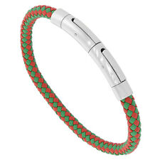 """8"""" Red & Green Leather Braided Bracelet w/ Stainless Steel Magnetic Clasp"""
