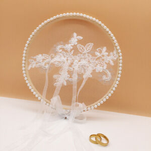 White Wood Lace Round Ring Pillow Wedding Decor Proposal Marriage Ring PillHF