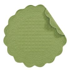 """Set of 4 PCS,17"""" ROUND Quilted Placemats, GREEN,812601350G"""
