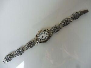 schöne, alte Armbanduhr , 835 Silber , EBR  !