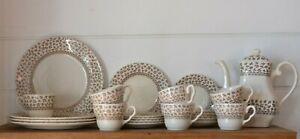 Vintage Staffordshire dinner set 24 pieces teapot ironstone hand engraved flower