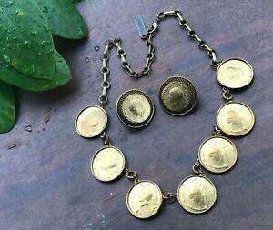 Jan Michaels San Francisco Coin Necklace & Pierced Earrings