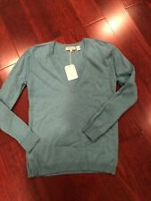 NWT Inhabit AQUA Cashmere V-NECK Sweater Size Small STYLE 2912 $300