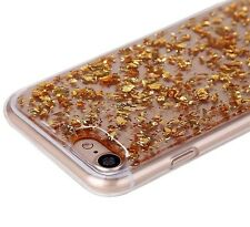 For iPhone 7 - TPU Rubber Silicone Case Cover Sparkling Embedded GOLD Foil Bling