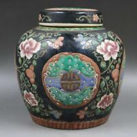 China antique Porcelain Qing kangxi black famille rose flower pot Storage tank