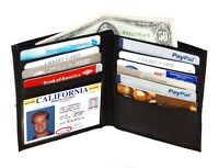 BLACK MEN'S LEATHER BIFOLD HIPSTER TALL ID WALLET CREDIT CARD HOLDER