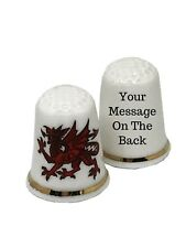 BN Personalised Welsh Dragon Thimble, Fine Bone China Collectable Thimble