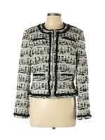 Carlisle Womens Fringe Wool Silk Blend Printed Jacket Size 12 Long Sleeve Blazer