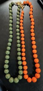 "Lot of 2, VINTAGE Liz Claiborne inc., Green and Orange Beaded, 34"" long Necklace"