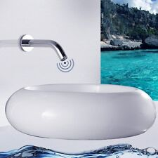 Automatic Sensor Faucet Touchless Hands Free Bathroom Wall Mount DC Power Tap