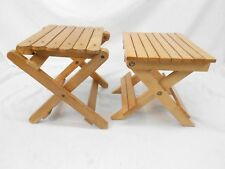 VINTAGE KID'S WOODEN FOLDING STEP STOOL, HOUSEHOLD STOOL, PLANT STAND, LOT OF 2