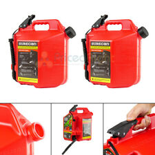 2 SureCan 5 Gallon 19 Liter Self Venting Gas Cans w/ Rotating Spout Nozzle Red